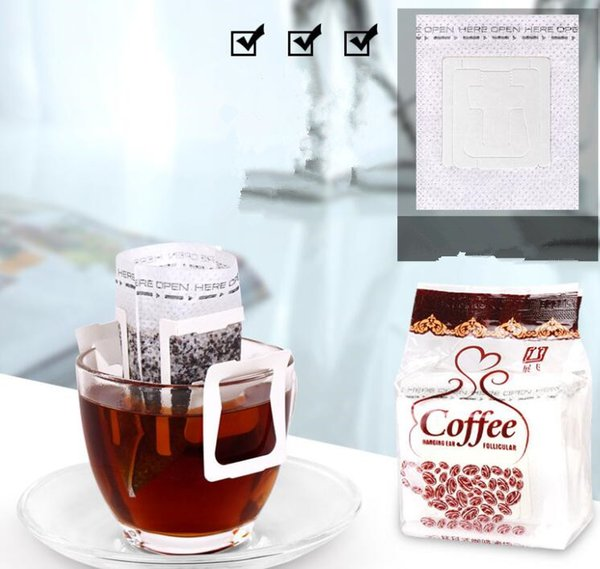50Pcs / Pack Coffee Filter Paper Bag Portable Hanging Ear Coffee Filters Paper Single Serve Pour-Over Coffee liter bag KKA4279