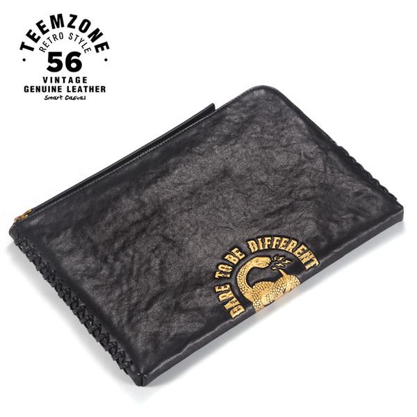 European And American Style Fashion Casual Long Section Black Male Clutch Wallets Youth Handbag Cowhide Zipper Big Clutch Purse