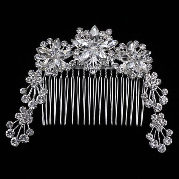 Flor popular taladro completo boda coreana nupcial headwear moda plateado cadena suave peinado accesorios de la boda al por mayor