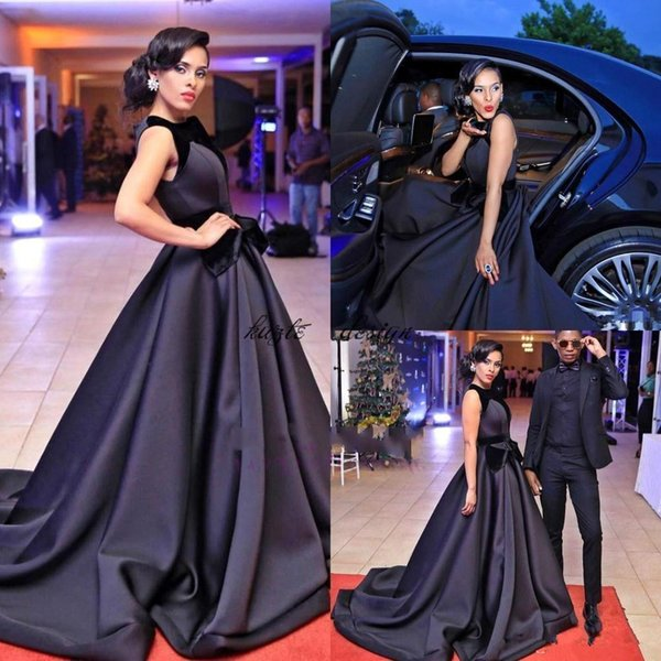 Custom Black Ball Gown Evening Dresses High Collar Red Carpet Celebrity Dresses With Bow Sash 2018 nigerian vestidos festa Long Train