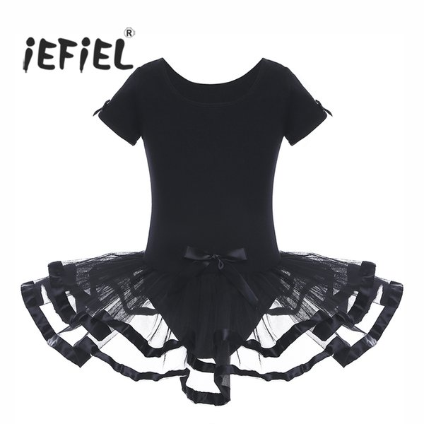 Girls Mesh Ballet Dancewear Gymnastics Leotard Dress with Bowknots Professional Ballet Tutu Dress Kids Costume Dresses