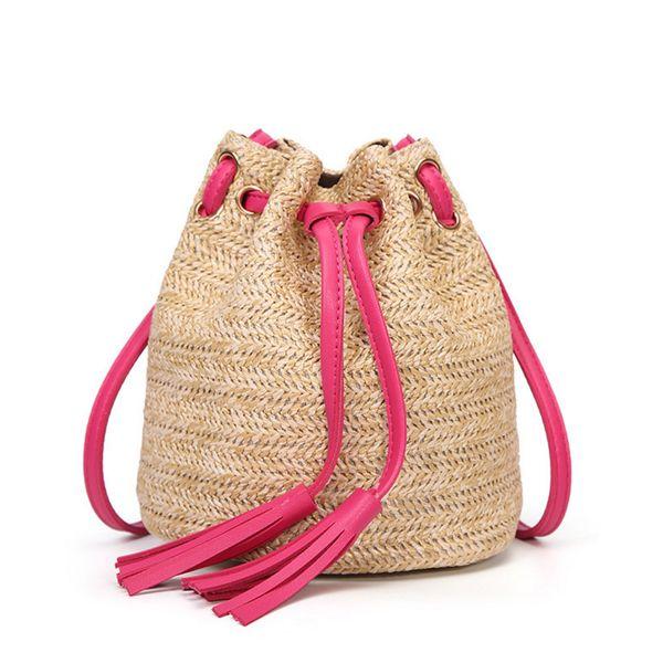 New Drawstring Women's Straw Bucket Bag Summer Woven Tassel Shoulder Bags Shopping Purse Beach Straw Cross Body Handbags Travel Bag