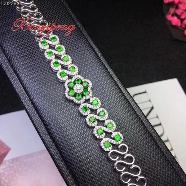 Xin yi peng 925 prata embutidos diopside natural pulseiras, mulheres pulseira, moda generosa, presente de aniversário