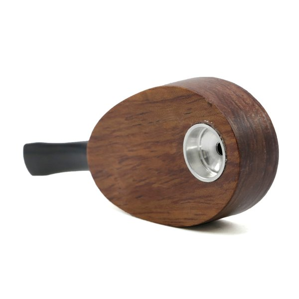 Wholesale Mini Travel Racket Shape Rosewood Tobacco Smoking Cigarette Pipe With Metal Bowl