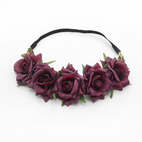 MOQ:10PCS Children Rose Flower Hairbands Cloth Floral Headband Hair Accessories For Women Bride Hair Decoration