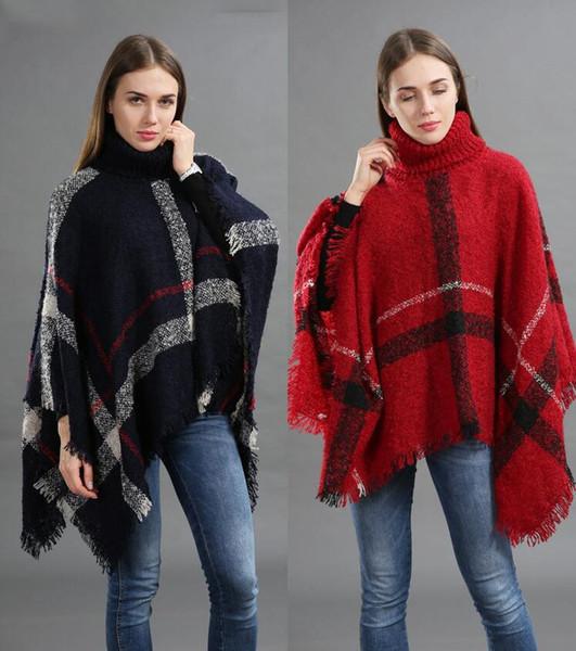 Nova Marca de Inverno das Mulheres Poncho De Tricô Capes Mulheres Cobertor Do Vintage Senhora Malha Cape Cashmere Xales Cachecol Pulôver de Inverno Cardigan