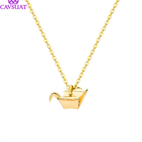 Unique Origami Cranes Charm Necklaces Stainless Steel Chain Women Girls Lucky Fly Bird Pendant Animal Jewelry Friendship Gifts