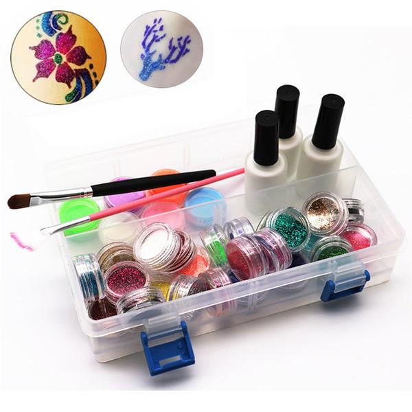 24 colores Shimmer Glitter Tattoo Set completo 108 Stencils 3 pegamento 2 pinceles para 3D Glitter tatuaje temporal Body Paint Design