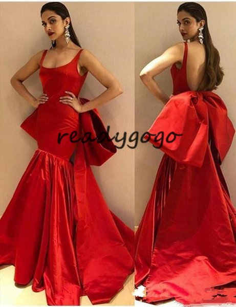 Modest Long Red Mermaid Evening Dresses with Big Bow Sexy Backless Spaghetti Straps Prom Dresses Trumpet Gowns