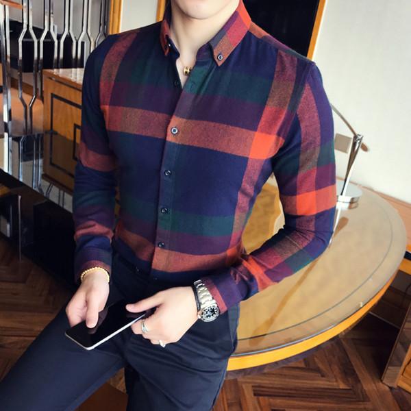 Men Shirt Flannel Plaid Long Sleeve Autumn Winter Vintage Shirt Men Causual Slim Fit Lattice Business Camicie Uomo 3xl