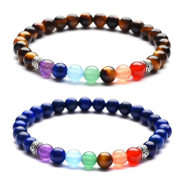 6 mm amatista natural yoga siete pulseras de chakra ojo de tigre piedra volcánica piedra natural de múltiples variedades con estilo pulsera de curación de energía