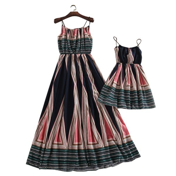Summer Mommy and Me Mother Daughter Dresses 2017 Kids Striped Bohemian Boho Style for Mom and Baby Dress Family Matching Outfits