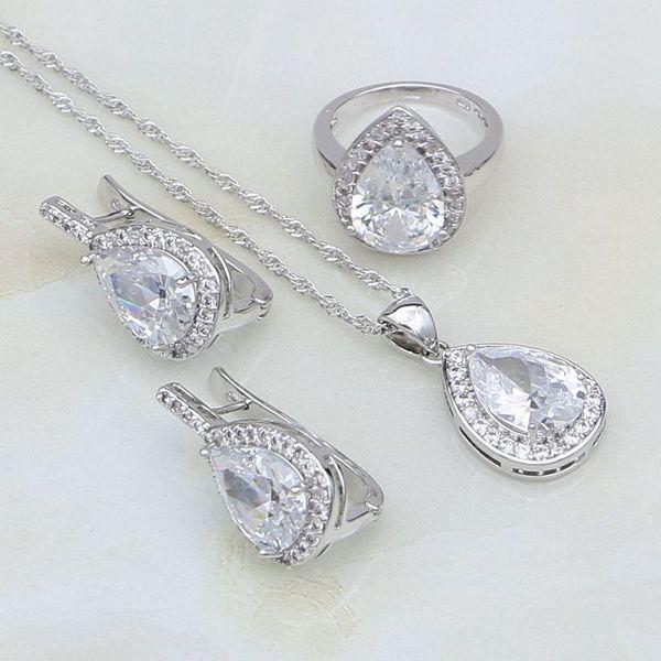 925 bijoux en argent goutte d'eau blanc australien bijoux en cristal ensembles pour les femmes fête d'anniversaire boucles d'oreilles / pendentif / collier / bague