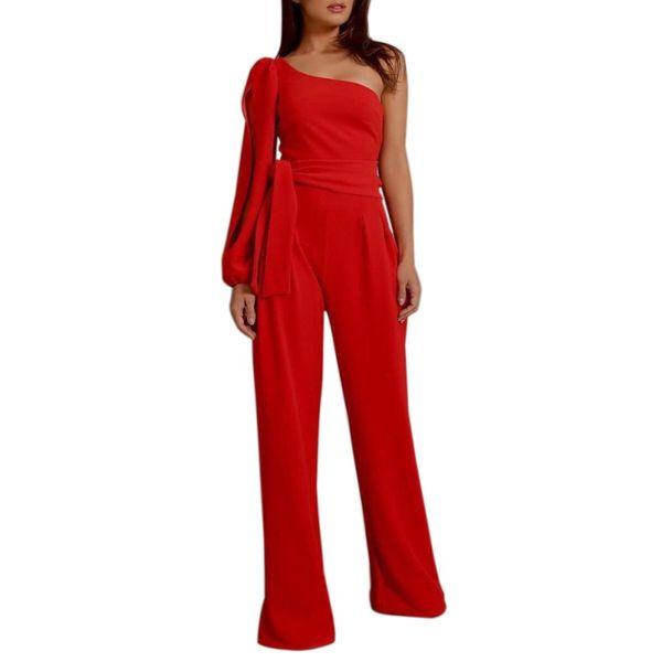 Z New Fashion Women's Jumpsuit Solid Sexy Belt One-shoulder Sleeves Bandage Nice Elegant Long Jumpsuit