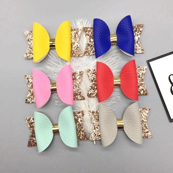 Glitter Arcos de Cabelo Grampos de Couro PU Meninas Grampos Presilhas Crianças Ganchos de Cabelo Headwear Bonito Acessórios Para o Cabelo