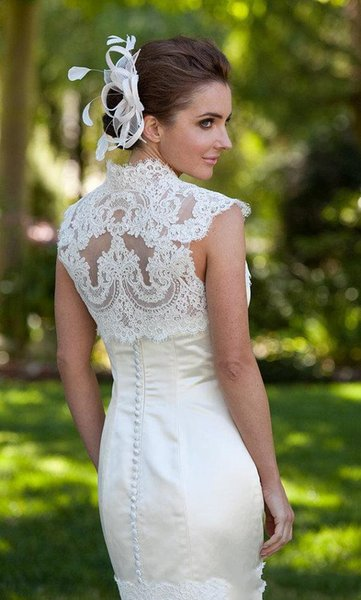 High Neck Lace Bolero Sleeveless Appliques Wedding Shawls For Bride Bridal Accessories Classy Bridal Jackets Free Shipping