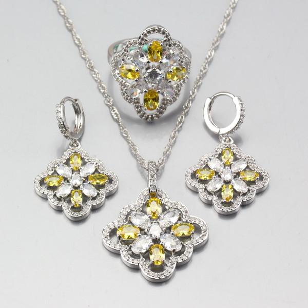 Insiemi dei monili di zircon di colore giallo dell'argento sterlina dell'argento 925 di colore per le donne Collana delle collane del pendente dell'anello dell'orecchino La migliore decorazione del venditore