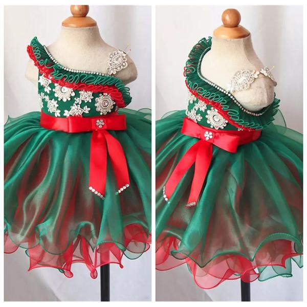 Spaghetti Girl Pageant Vestidos para cupcakes Hermosas rebordeadas Mini Short Organza Faldas Vestidos para ocasiones especiales de cumpleaños para niñas pequeñas 2019