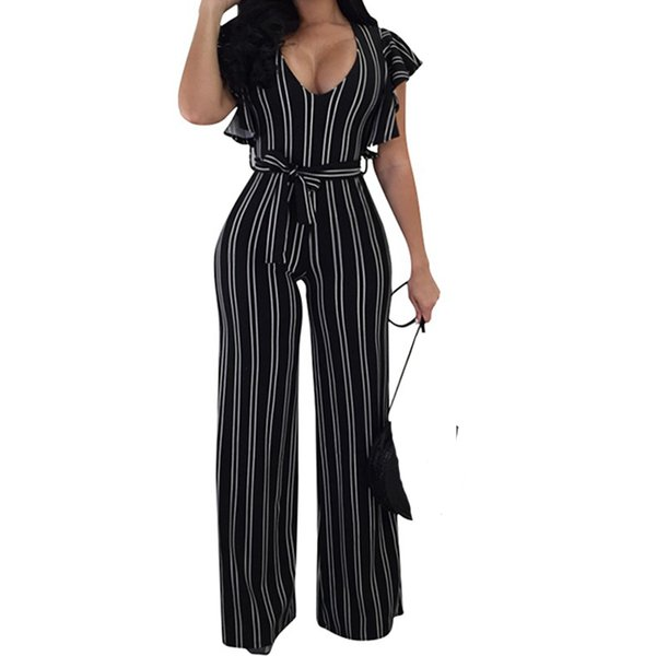3f81aa8ca94 Summer Striped Jumpsuit Women Short Sleeve Ruffles One Piece Wide Leg  Jumpsuit Fashion Overalls Sexy Rompers Womens