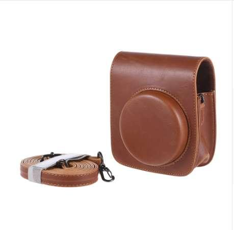 Vintage PU Camera Bag for Fujifilm Instax Mini 90 Instant Film Camera Protective Case Pouch Cover Protector with Camera Strap
