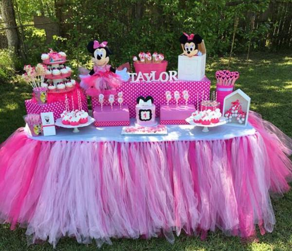 Wedding Party Tulle Tutu Gonna Tavolo Compleanno Baby Shower Decorazioni per la tavola di nozze Fai da te