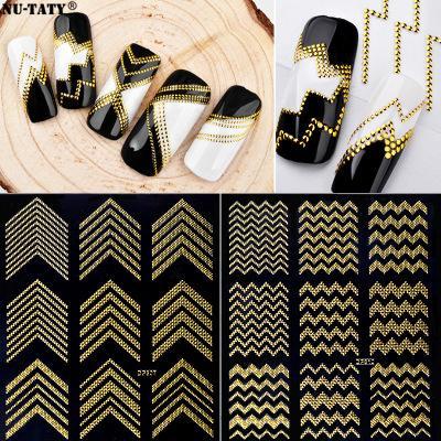 Nu-TATY Heiße neue nagel Aufkleber kleber 3D gold metall Nagel applique DIY stereo aufkleber Werkzeuge