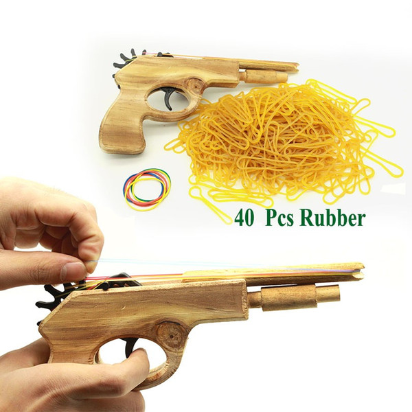 best selling New Fashion Unlimited bullet Classical Rubber Band Launcher Wooden Hand Pistol Gun Shooting Toy Gifts Outdoor Fun Sports For Kids