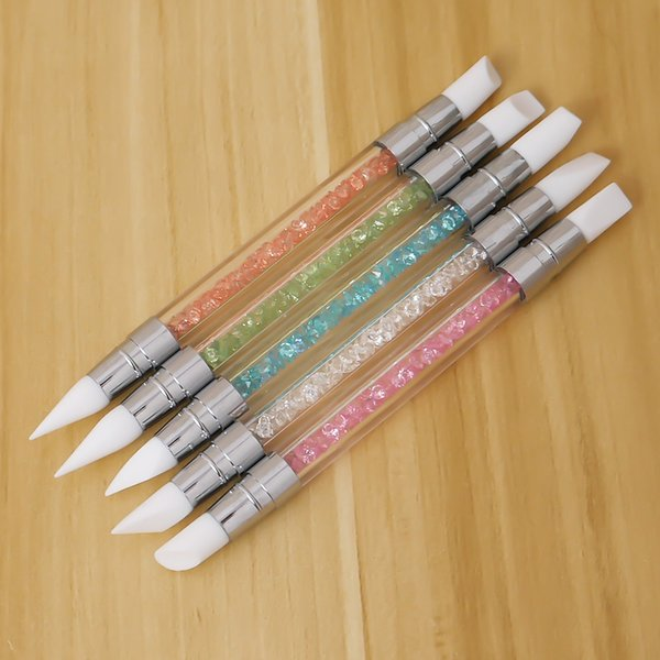 5PCS/set 2 Way Nail Art Sculpture Pen Brushes Soft Silicone Carving Craft Polish Rhinestone Handle Nail ADotting Tools