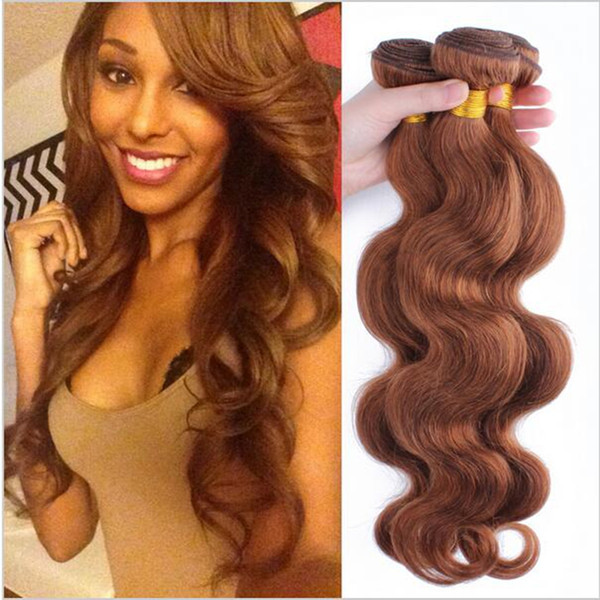 8A Unprocessed Peruvian Body Wave Virgin Hair 3PCS Lot Medium Auburn #30 Human Hair Extensions Sexy Dark Brown Hair Weaving Weft Bundles