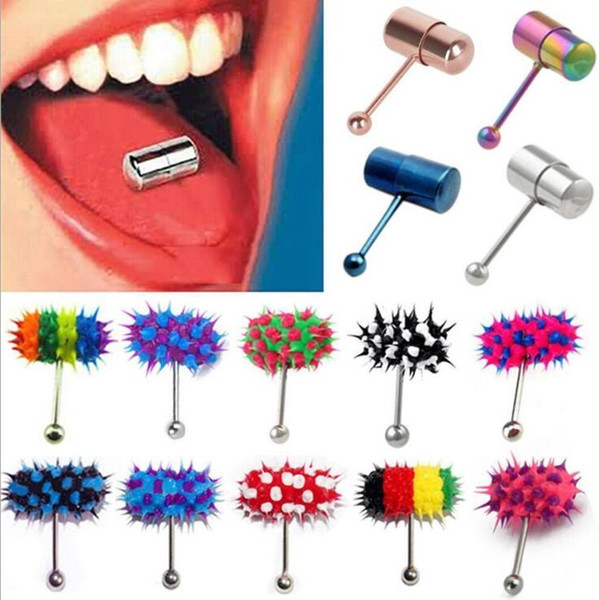 Cool Stainless Steel Barbell Vibrating Tongue Bar Stud Ring Unisex Punk Hammer Shape Vibrating Tongue Ring Body Piercing Jewelry