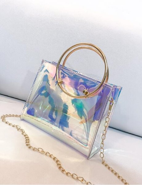 2018 New Women Handbag Laser Hologram Leather Shoulder Bag Lady Single Shopping Bags Large Capacity Casual Tote