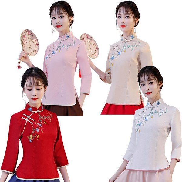 Shanghai Story Traditional chinese tops Long Sleeve cheongsam top Flower Embroidery Linen Blouse top 4 Color