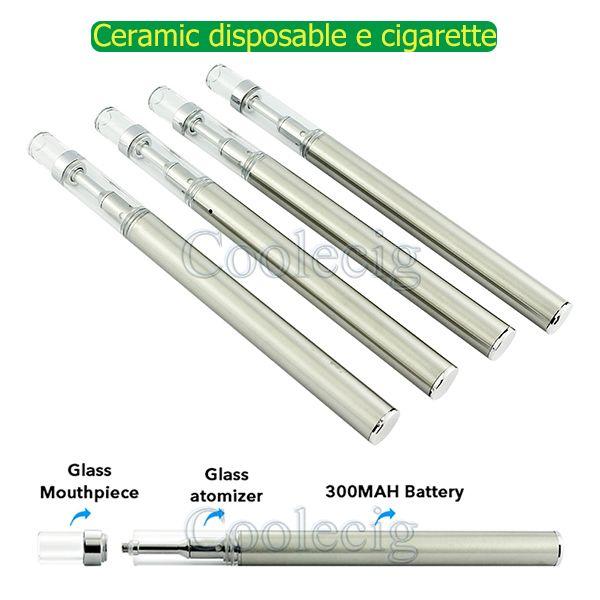 New ceramic coil disposable e cigarette empty vape pens .5ml 300mah disposable e cig ceramic coil vaporizer cartridge thick oil glass tank