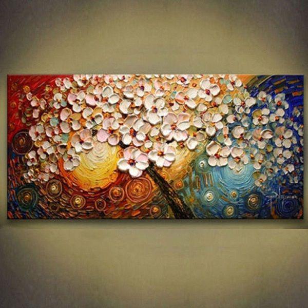Grande fleur arbre toile abstraite peinture peinte à la main / impression HD moderne décoration murale art peinture à l'huile sur toile.Multi tailles / cadre Options L57
