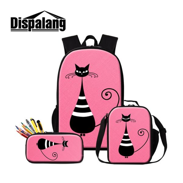 Dispalang Large Capacity 16 inch Backpack Set Abstract cat Print Women Men Shoulder Cooler Bags Travel Backpacks Kids Schoolbag