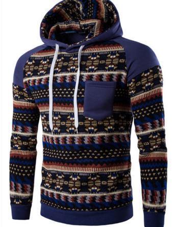 man hoodeis winter men's raglan sleeve folk style color hooded casual coat sweater shirt stick solid pattern
