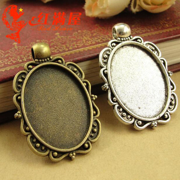 A3771 25*31MM Fit 25*18MM Antique Bronze tone vintage oval metal stamping blanks wholesale lot, tibetan silver bezel pendant base tray