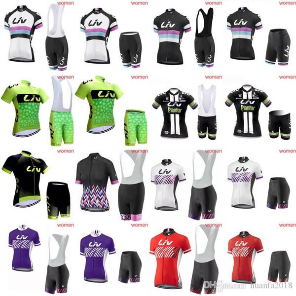 LIV team Cycling Short Sleeves jersey (bib) shorts sets women Mountain Bicycle Wear Ropa Ciclismo Bike Cycling E0818
