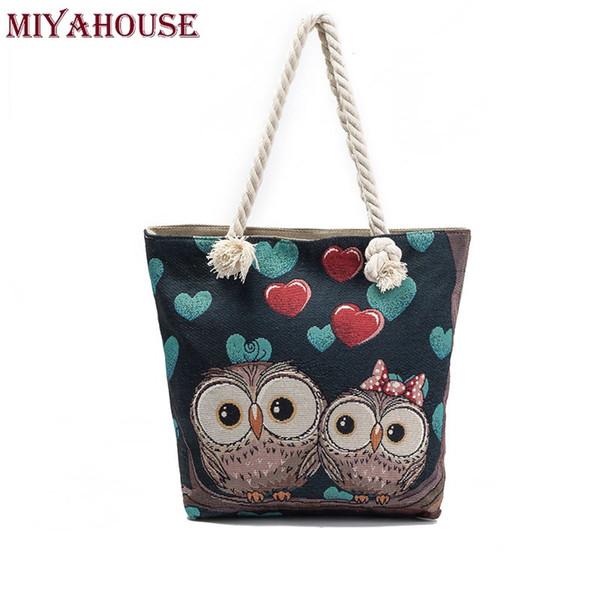 Miyahouse Women Beach Bag Owl Printed Canvas Handbags Large Capacity Ladies Shopping Bag Female Floral Single Shoulder Bolsa