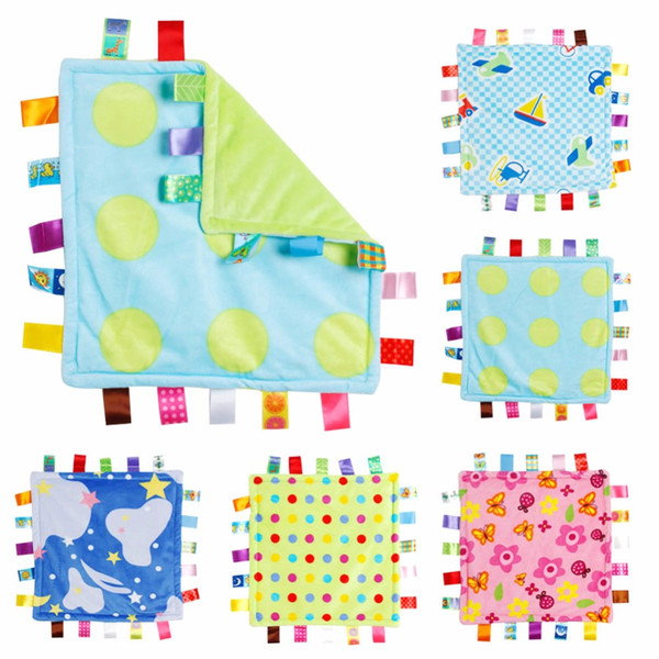 best selling 30*30cm Baby Appease Towel Baby Comforting Taggies Blanket Super Soft Square Plush Toy Baby Appease BB Water Bath Shower Towel