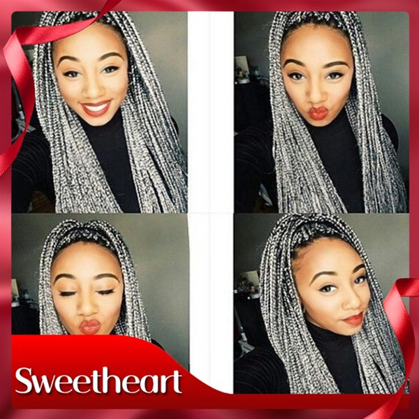 Hot Selling Synthetic Lace Front Wig For Black Woman Ombre Grey African American Braided Heat Resistant Fiber Box Braids Wigs with Baby Hair