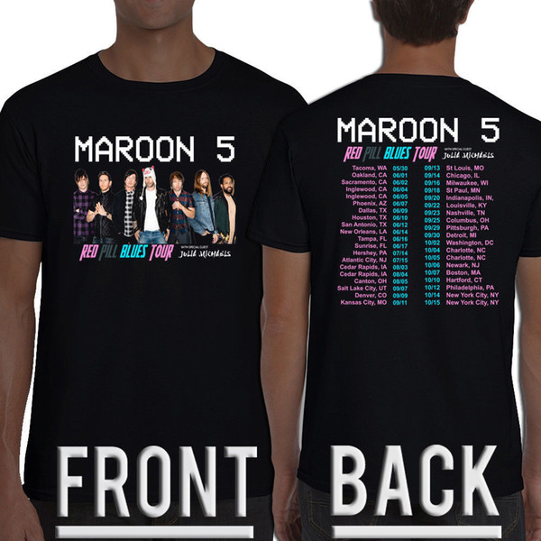 Limited New Maroon 5 Red Pill Blues Tour Dates 2018 T - Shirt S-5XL Mens 2018 fashion Brand