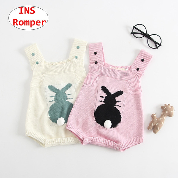 INS Baby Cute 3D Rabbit Tail Romper Newborn Unisex sleeveless Jumpsuit Kids knitted Overalls 2colors 5size