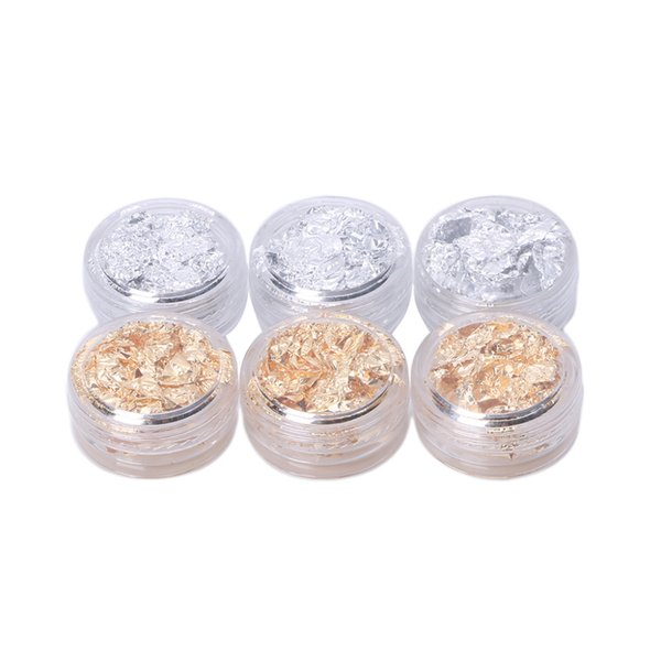 1 Caja Nail Art Design Decoration Paillette Flake Foil Gel acrílico UV Paper 3D Tips Gold / Silver Color