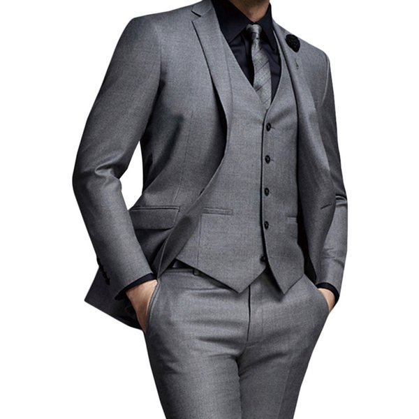 Grey 2018 Men Suits for Wedding Slim Fit Groom Tuxedos Business Custom Made Best Man Blazer Jacket 3 Pieces Pants Vest Prom Wear