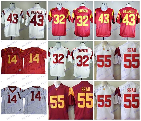 newest collection 77534 89cbe 2019 USC Trojans #14 Sam Darnold 2018 Draft Jersey 55 Junior Seau 43 Troy  Polamalu 32 OJ Simpson NCAA College Football Jerseys Stitched From ...