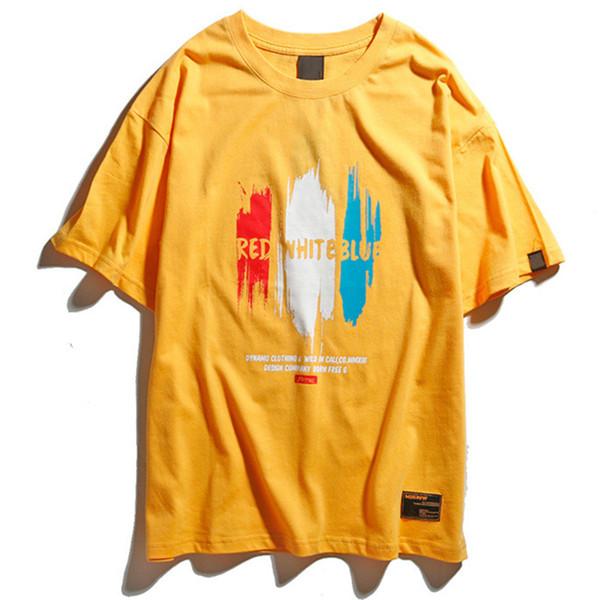 Camiseta Hombres Tinta Graffiti Para Hombre Camisetas Manga Corta O-cuello Rojo Blanco Azul Carta Camiseta Algodón Moda Calle Alta Pareja Tees Streetwear