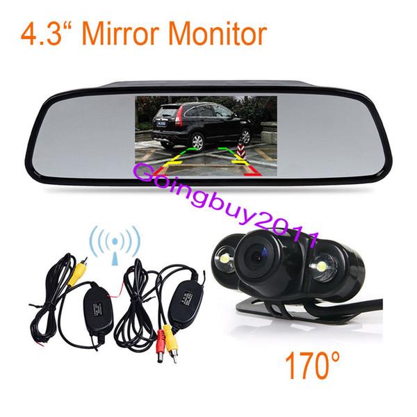 "4.3"" LCD Mirror Monitor + Wireless Waterproof 2 LED Backup Reversing Camera Car Rear View Kit 170° Free Shipping"