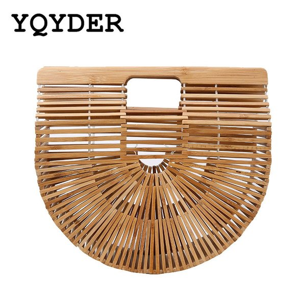 5da31993a43ef handmade lady bags Promo Codes - Women Handbag Female Big Travel Vacation  Totes Bamboo Handbag For