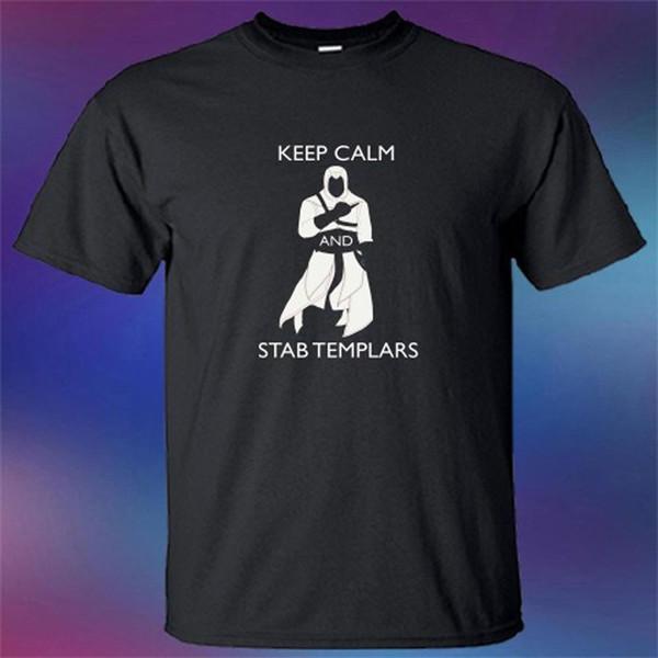 Novo Mantenha A Calma E Facada Templária Assassino Engraçado T-shirt Camisa Hight Qualidade Homem T Shirt Design Tops Top Tee